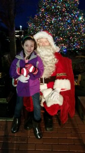 Allison Predmore  with Santa Claus. 2014 Holiday Lighting